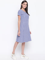 Cotton Handloom Check Contrast Pocket Detail Panel Dress-Dress-Fabnest