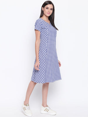 Load image into Gallery viewer, Cotton Handloom Check Contrast Pocket Detail Panel Dress-Dress-Fabnest