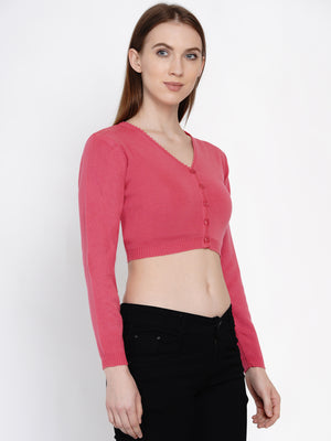 Load image into Gallery viewer, Women Winter Acrylic Pink Crop Top Cardigan-Cardigan-Fabnest