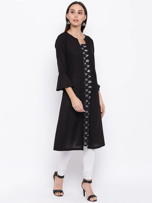 Load image into Gallery viewer, Fabnest womens cotton black Kurt's with an okay front panel-Kurta-Fabnest
