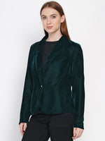 Fabnest women velvet black coat-Trench Coat-Fabnest