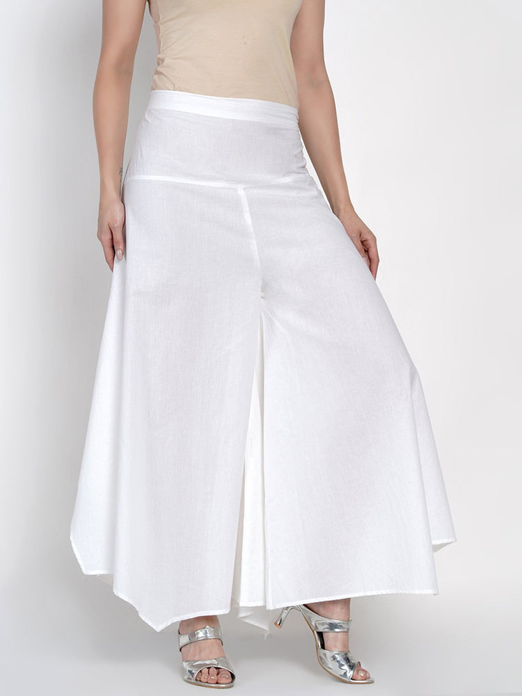 Load image into Gallery viewer, Basic Cotton White Asymmetrical Pant-Pants-Fabnest