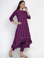 Fabnest Womens Purple Cotton Asymmetric Kurta With Gota And Petal Pant Set-Kurta Set-Fabnest