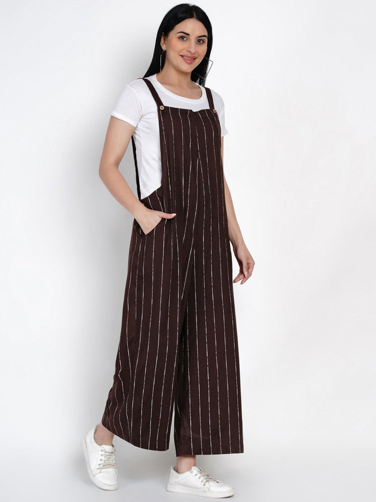Load image into Gallery viewer, Fabnest Womens Rayon Brown And White Striped Rayon Loose Fit Dungaree-Jumpsuit-Fabnest