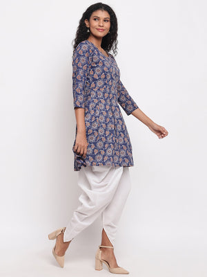 Load image into Gallery viewer, Fabnest womens indigo cotton printed peplum short kurta with white cotton dhoti salwar-Kurta Set-Fabnest