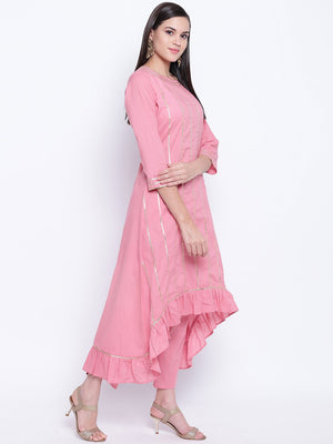 Load image into Gallery viewer, Fabnest womens cotton dull pink assymetrical hem kurta with frills and petal pants set with accents of gota.-Kurta /Pant-Fabnest