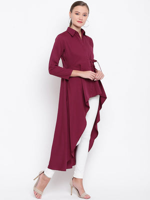 Load image into Gallery viewer, Wine coloured tunic, with asymmetric hemline had a side tie up-Tunic-Fabnest
