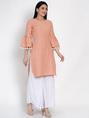 Load image into Gallery viewer, Fabnest Womens Cotton Orange And White Check Kurta With Flounce Sleeve And Tassles-Kurta-Fabnest