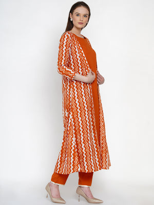 Load image into Gallery viewer, Fabnest Women Solid Rust cotton Kurta and Pant set with rust chevron cape-Kurta Pant Set-Fabnest