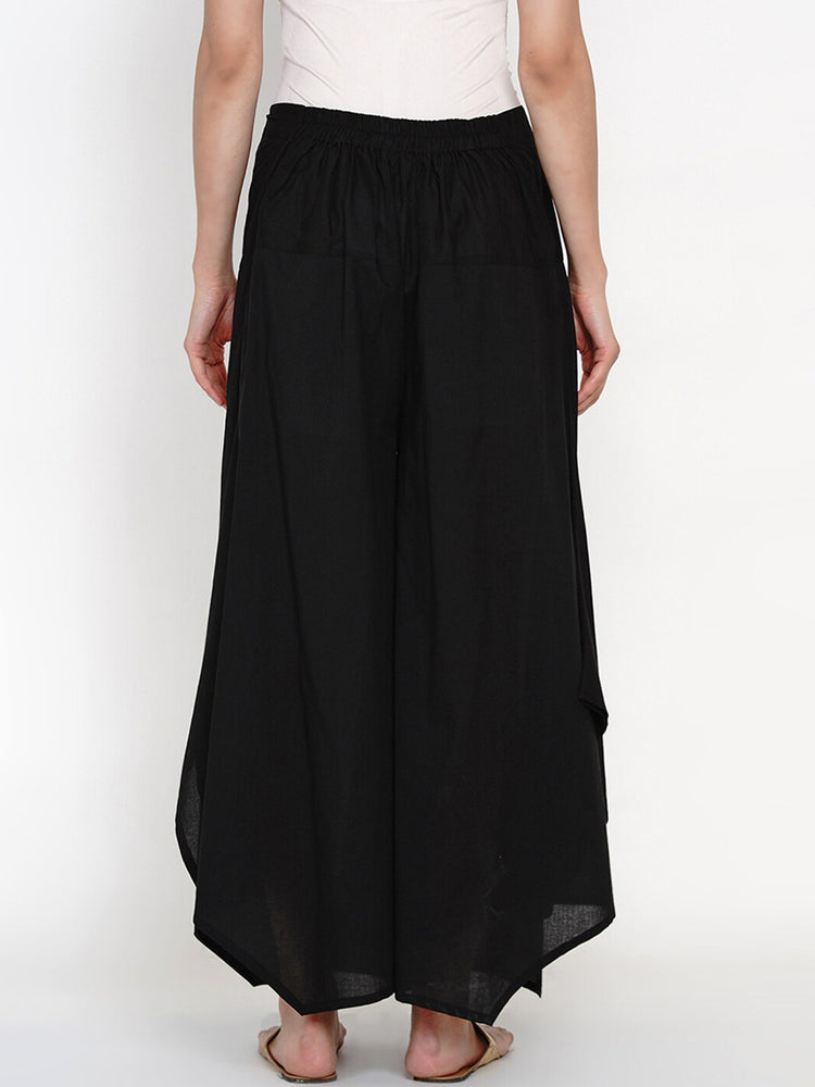 Load image into Gallery viewer, Fabnest black cotton asymmetric palazzo-Palazzo-Fabnest