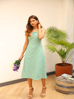 Fabnest Womens cotton green gingham straight dress with straps-Dress-Fabnest