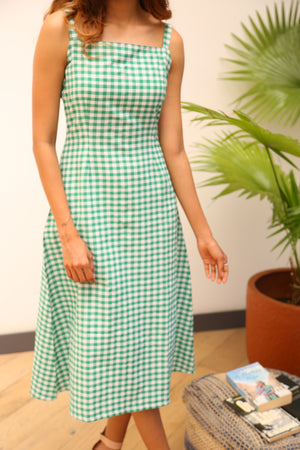 Load image into Gallery viewer, Fabnest Womens cotton green gingham straight dress with straps-Dress-Fabnest