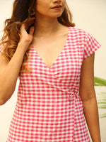 Fabnest Womens cotton pink gingham wraparound dress-Dress-Fabnest