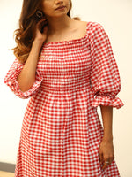 Fabnest Womens cotton red gingham dress with smocking-Dress-Fabnest