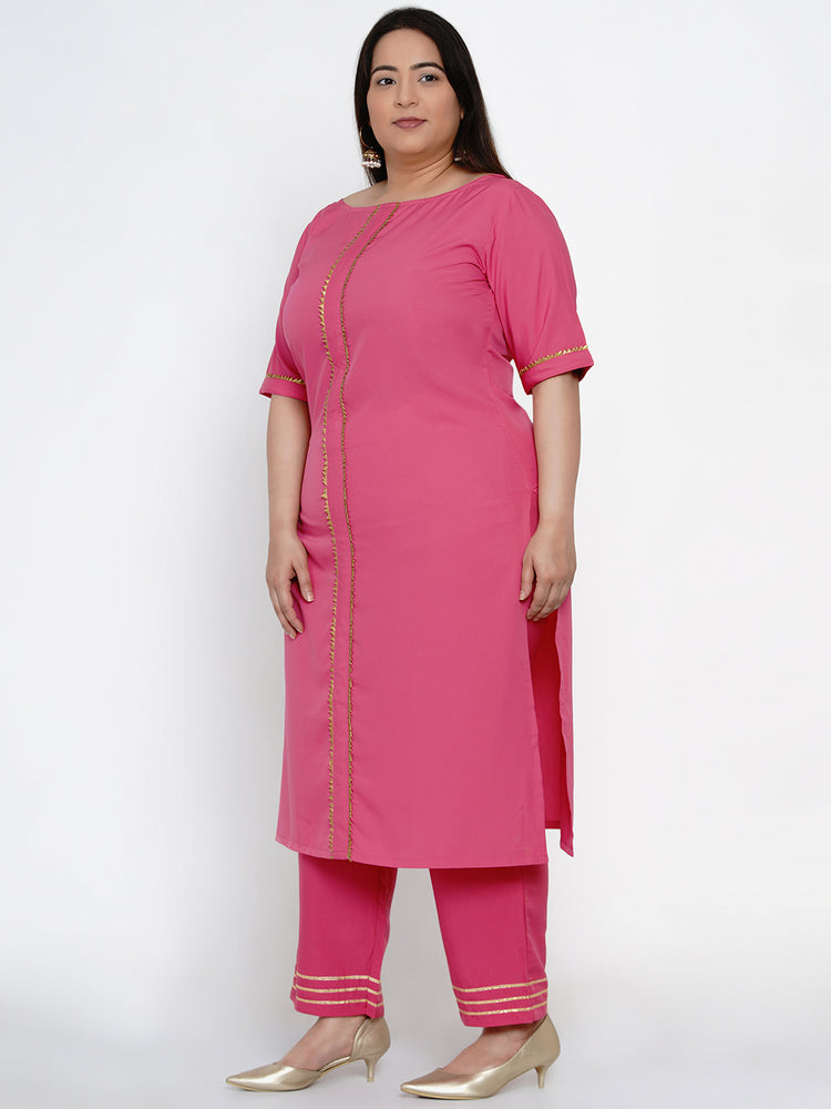 Load image into Gallery viewer, Fabnest Women Pink crepe straight kurta and pant set with gota inserts-Kurta Set-Fabnest