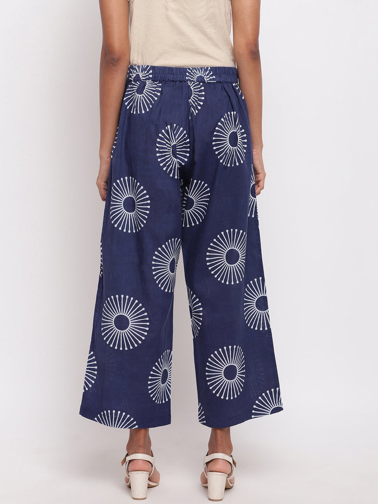 Load image into Gallery viewer, Fabnest womens indigo cotton printed straight pants-Pant-Fabnest