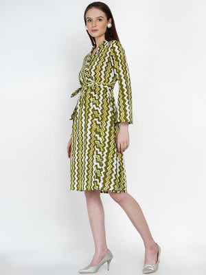 Load image into Gallery viewer, Fabnest Women Olive Chevron Cotton tie up dress-Dress-Fabnest