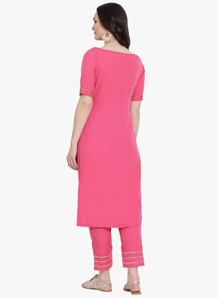 Load image into Gallery viewer, Pink crepe straight kurta and pant set with gota inserts-Kurta Set-Fabnest