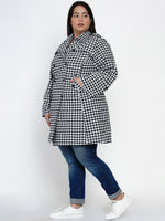 Fabnest Women Cotton black and white gingham check single layered trench coat-Trench Coat-Fabnest