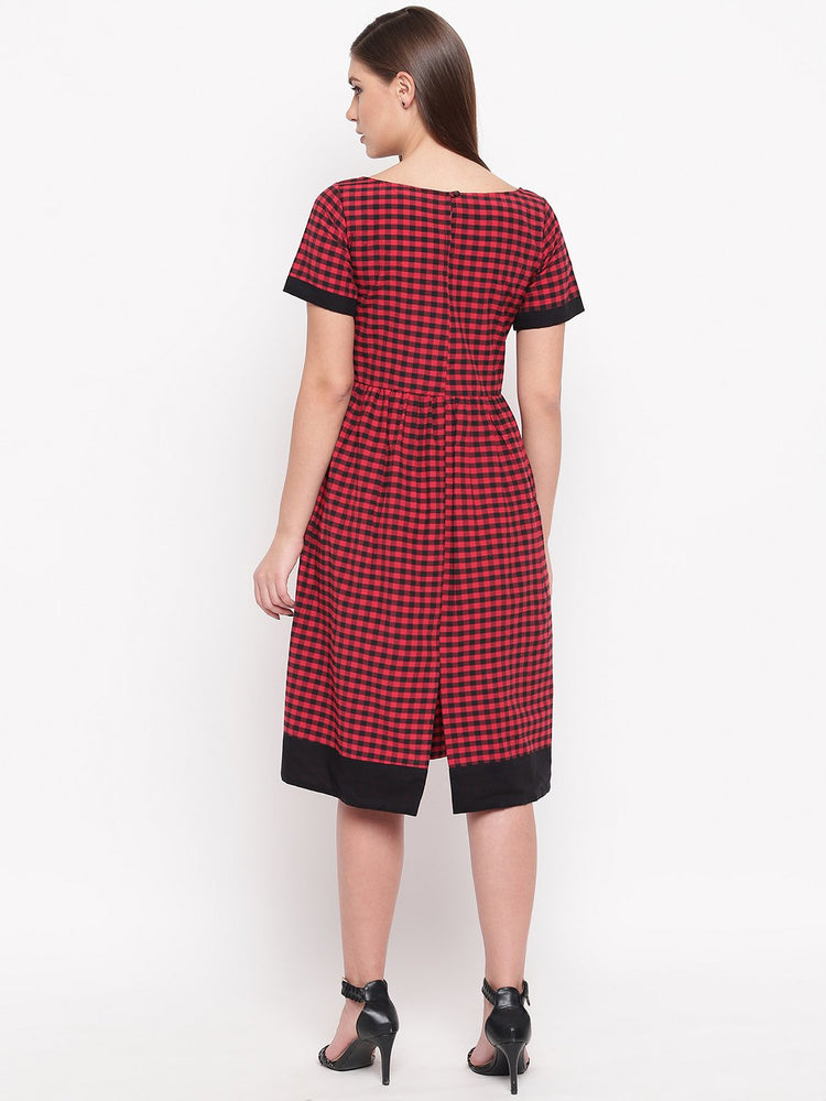 Load image into Gallery viewer, Fabnest womens Black and red check dress-Dresses-Fabnest