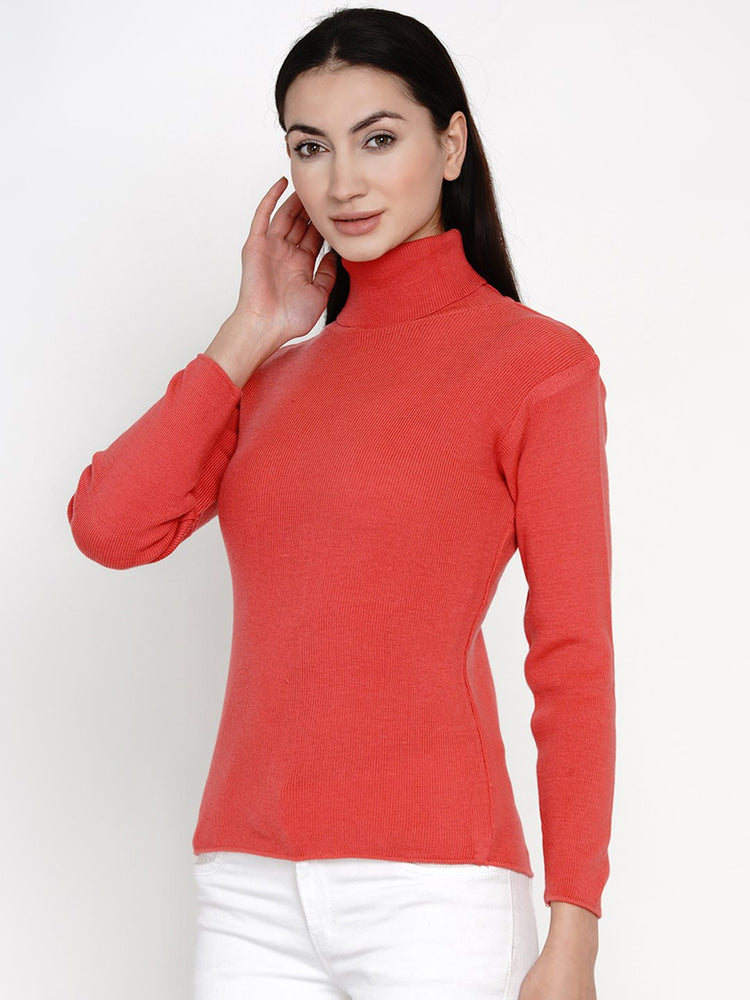 Load image into Gallery viewer, Fabnest Women Winter Peach High Neck Sweater-Sweaters-Fabnest