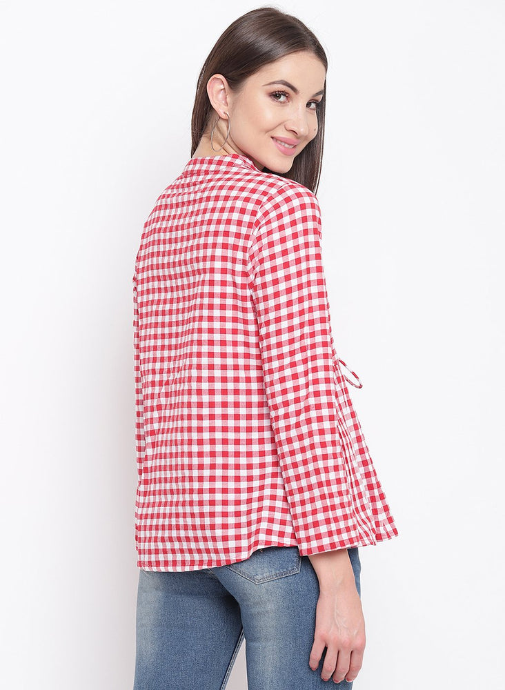 Load image into Gallery viewer, Fabnest womens handloom cotton red and white check peplum short shrug-Cape-Fabnest