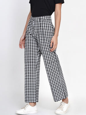 Load image into Gallery viewer, Fabnest women handloom black and white check casual pant-Pants-Fabnest