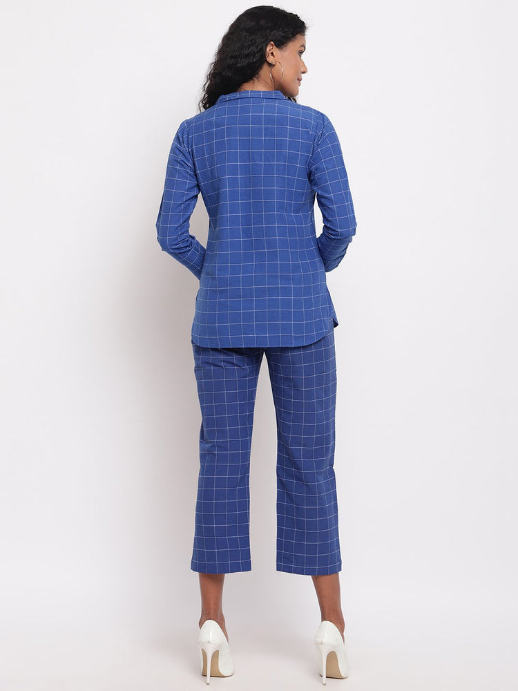 Load image into Gallery viewer, Blue window pane check jacket with straight pants-Co-ords-Fabnest