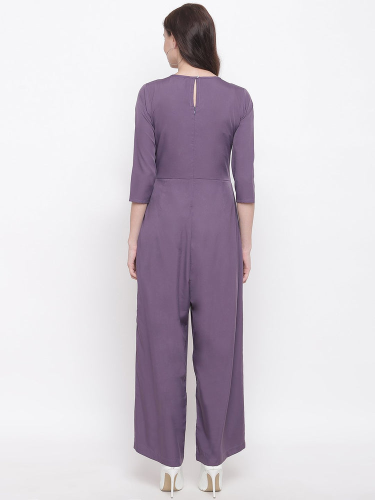 Load image into Gallery viewer, Fabnest womens crepe dull lilac jumpsuit with with pintucks at yoke-Jumpsuit-Fabnest
