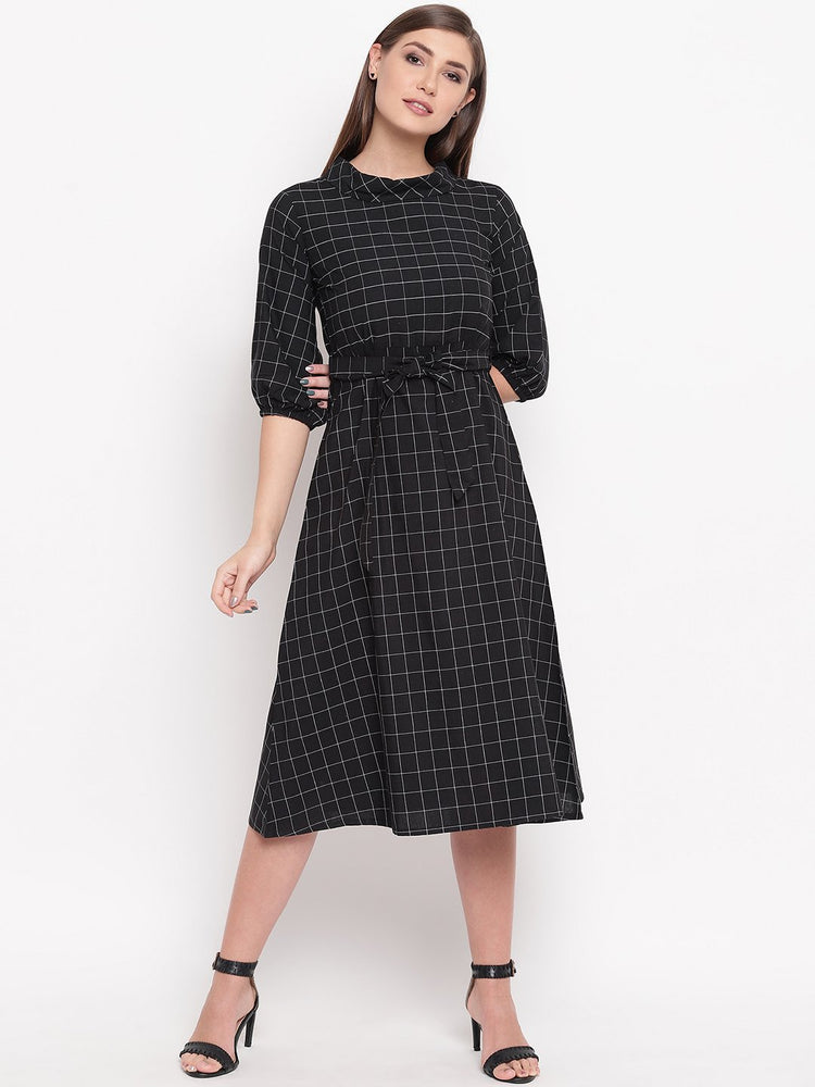 Load image into Gallery viewer, Fabnest womens black window pane a line dress with folded round collar-DRESS-Fabnest