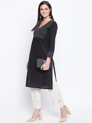 Load image into Gallery viewer, Fabnest womens cotton black straight kurta with v neck topstitch on the yoke.-Kurtas-Fabnest