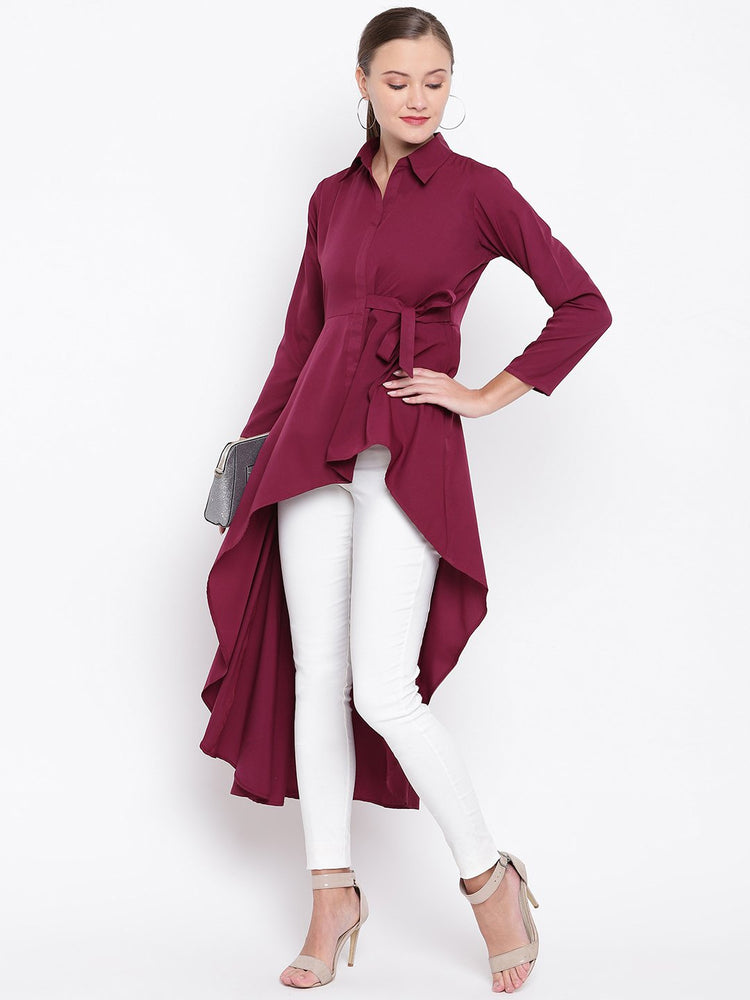 Wine coloured tunic, with asymmetric hemline had a side tie up-Tunic-Fabnest