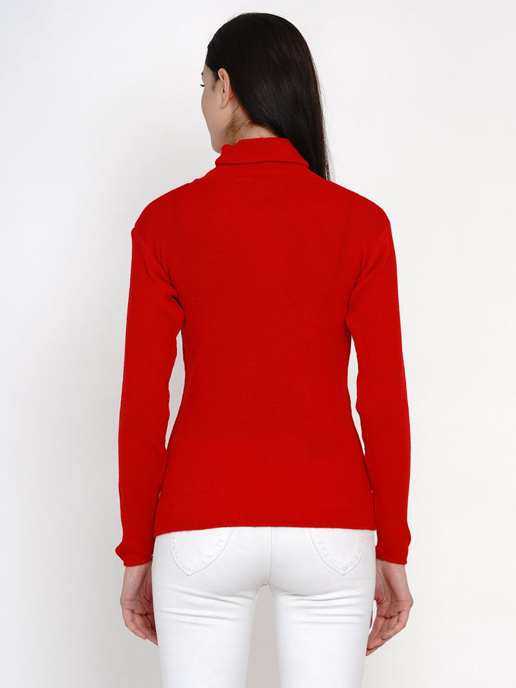 Load image into Gallery viewer, Fabnest Women Winter Red High Neck Sweater-Sweaters-Fabnest
