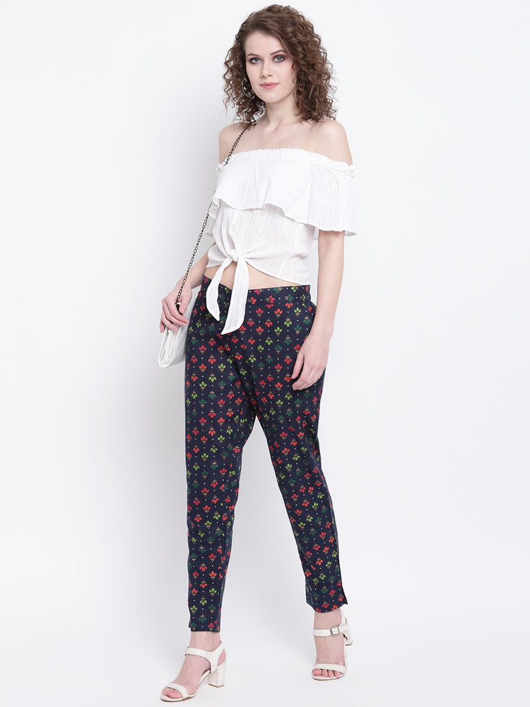 Load image into Gallery viewer, Fabnest womens cotton indigo printed slim pants-Pants-Fabnest