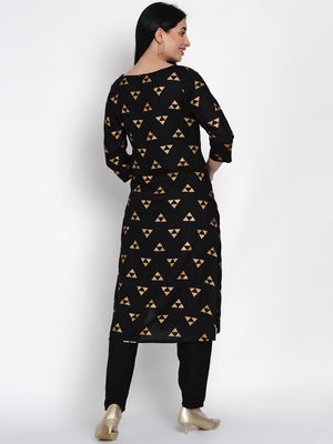 Load image into Gallery viewer, Fabnest Womens Black Rayon Straight Kurta With Gold Foil Print-Kurta-Fabnest