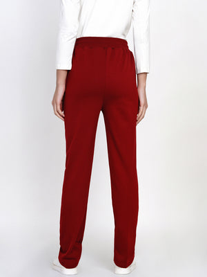 Load image into Gallery viewer, Women Solid Dark Red Winter Fleece Pants-Jogger pant-Fabnest