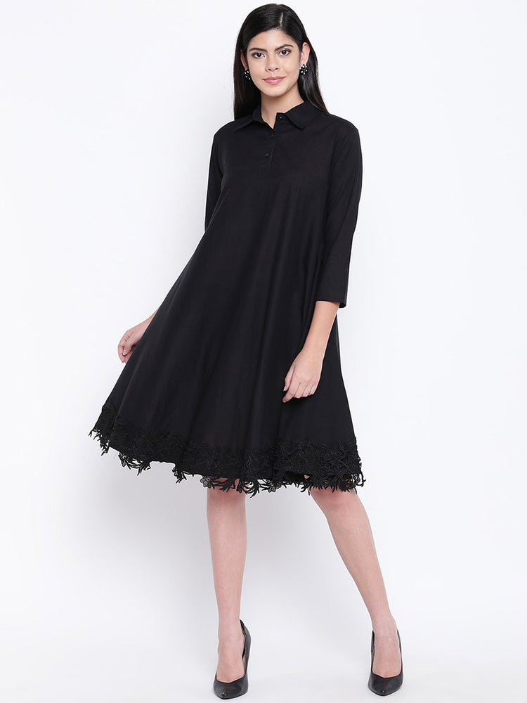 Fabnest women black cotton flowy dress with black lace at bottom hem-Flowy Dress-Fabnest