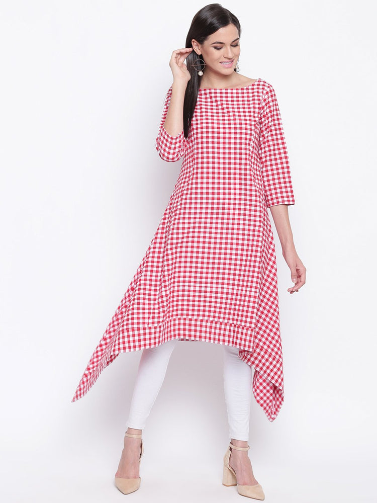 Load image into Gallery viewer, Fabnest womens cotton Red and white gingham check assymetrical hem kurta-Kurta-Fabnest