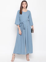 Fabnest womens crepe grey wide legged jumpsuit with bell sleeves and waist tie up.-Jumpsuit-Fabnest