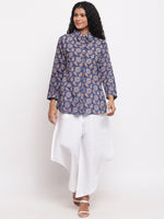 Fabnest Women's Cotton Indigo Printed Collared Tunic-Tunic-Fabnest