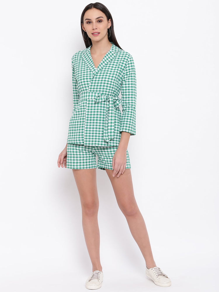 Fabnest womens cotton handloom green and white gingham tie up top with shorts-Jacket and short set-Fabnest