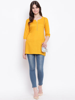 Load image into Gallery viewer, Fabnest womens mustard rayon pearl button short kurta/tunic-Tunic-Fabnest