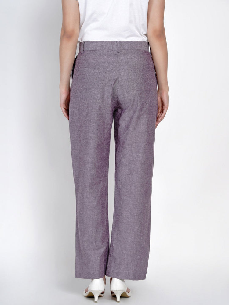 Load image into Gallery viewer, Fabnest Womens Cotton Lilac Chambray Pants-Pants-Fabnest