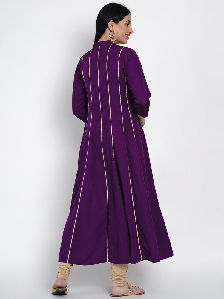 Load image into Gallery viewer, Fabnest Womens Purple Crepe Anarkali Kurta With Gota Inserts-Kurtas-Fabnest