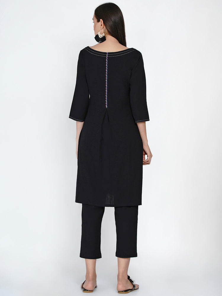 Black cotton A line kurta with contrast top stitch at neck and sleeve with lace at back inverted pleat-Kurtas-Fabnest