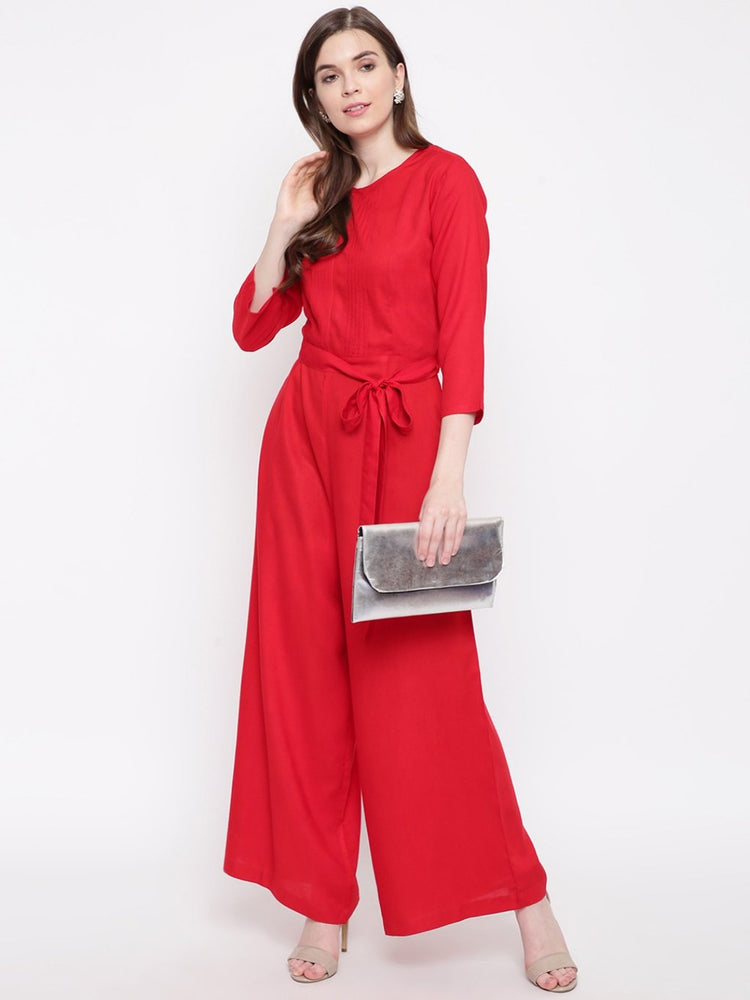 Fabnest women rayon jumpsuit with pintucks and belt-Jumpsuit-Fabnest
