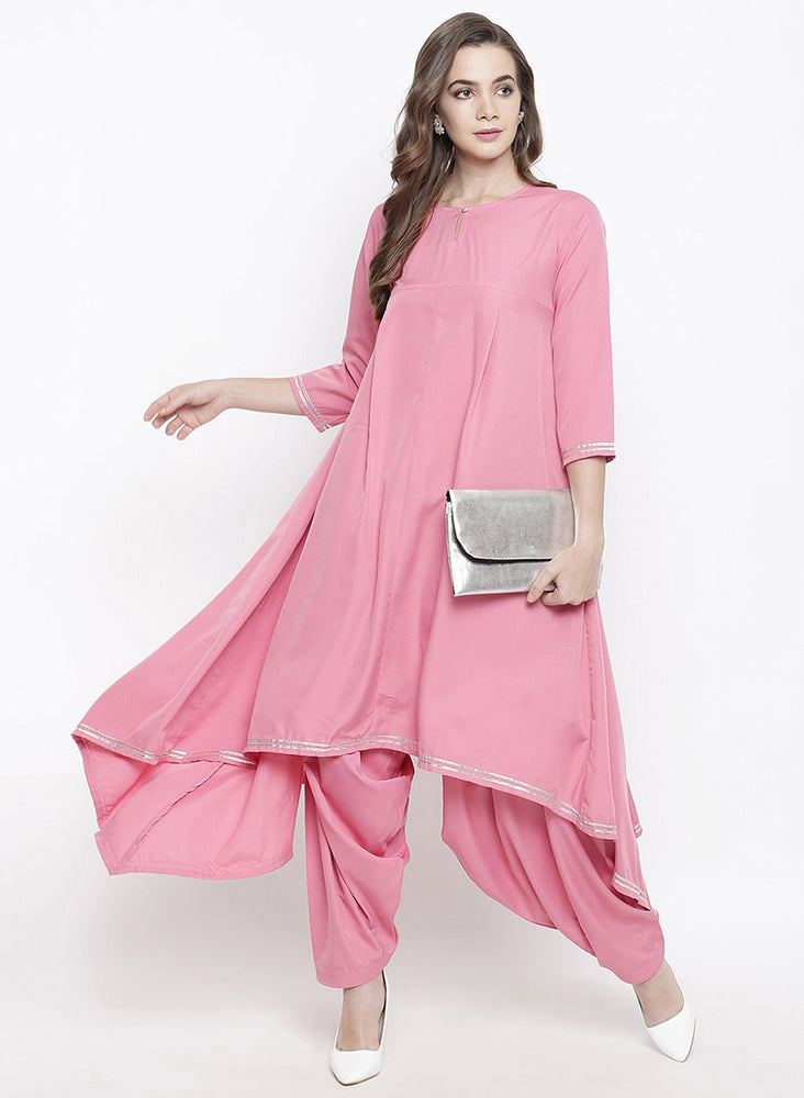 Pink asymmetrical kurta and salwar set with gota work-Kurta Set-Fabnest