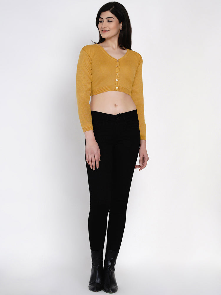 Fabnest women winter acrylic mustard crop top cardigan-Cardigan-Fabnest
