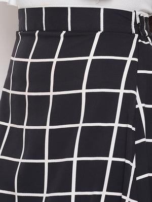 Load image into Gallery viewer, Fabnest womens crepe black and white windowpane a line skirt-skirt-Fabnest