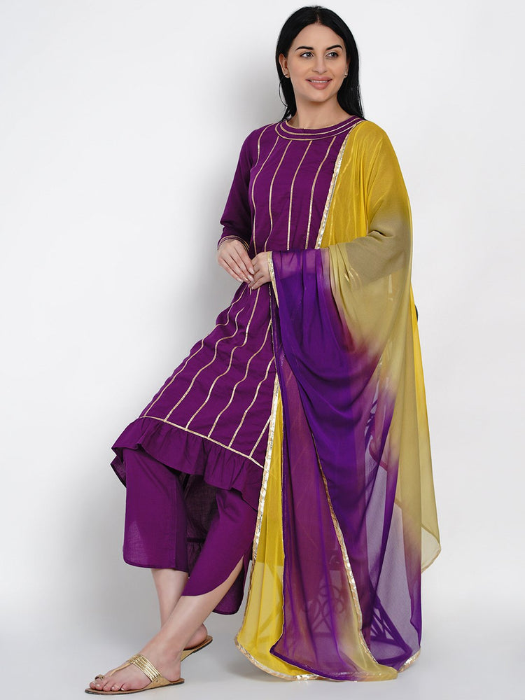 Load image into Gallery viewer, Fabnest Womens Purple Cotton Assymetrical Kurta With Gota And Petal Pant Set Along With Tie And Dye Dupatta With Gota-Kurta Set-Fabnest